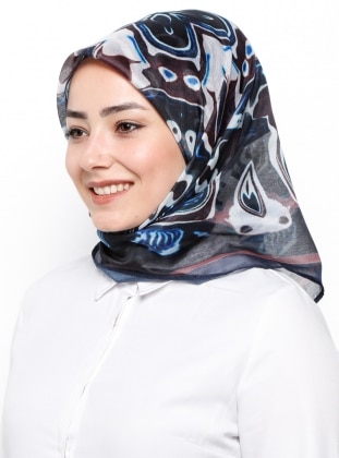Navy Blue - Printed - Rayon - Scarf