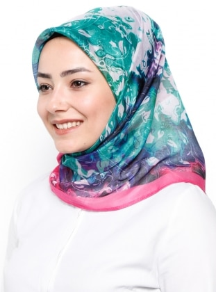 Green - Pink - Printed - Rayon - Scarf