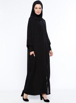 Yarasa Kollu Ferace - Siyah ModaNaz