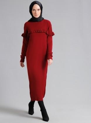 Maroon - Crew neck - Unlined - Dresses - Refka
