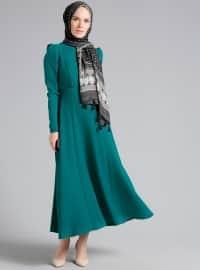 Balıkçı Yaka Elbise - Zümrüt - Refka