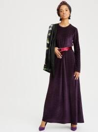 Kadife Elbise - Mor - Beha Tesettür