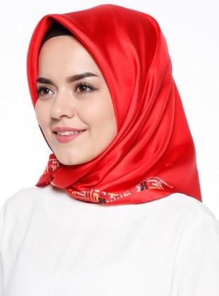 Desenli Eşarp - Kırmızı Silk Home