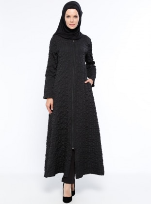 Black - Unlined - Crew neck - Abaya - ModaNaz 331738