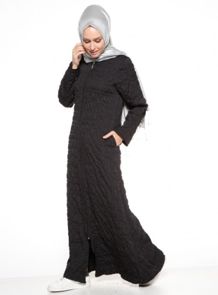 Black - Unlined - Crew neck - Abaya - ModaNaz 331740