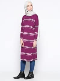 Purple - Stripe - Crew neck - Tunic