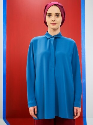Blue – Multi – Point Collar – Tunic – Mevra