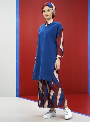 Blue – V Neck Collar – Tunic – Mevra