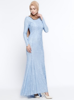 Blue - Fully Lined - Crew neck - Muslim Evening Dress - Mileny 332386