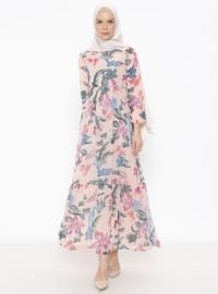 Çiçek Desenli Elbise - Pudra - PNR WOMAN