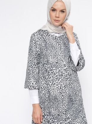 Ecru - Leopard - Fully Lined - Crew neck - Coat