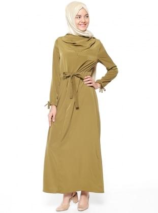 Neways Dökümlü Yaka Elbise - Fıstık Yeşili