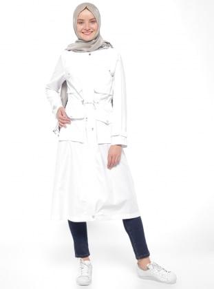 Neways Fermuarlı Trençkot - Beyaz
