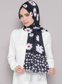 Floral - Multi - Navy Blue - Shawl