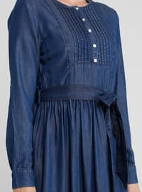 Navy Blue - Crew neck - Unlined - Denim - Dress
