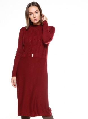 Maroon - Polo neck - Dresses
