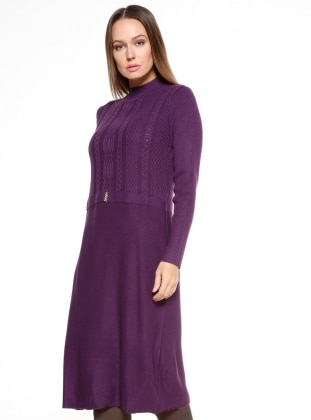Purple - Polo neck - Dresses