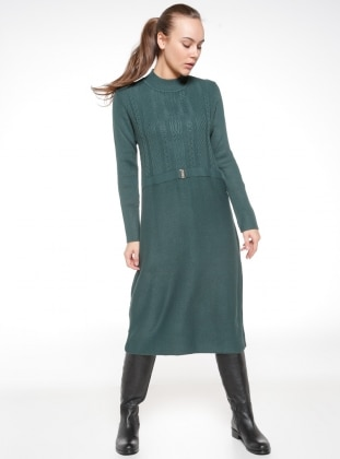 Green - Polo neck - Dresses