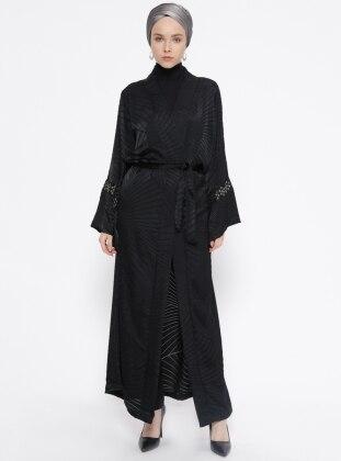 Black – Stripe – Unlined – Abaya – Meys