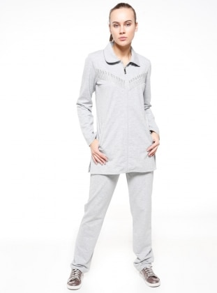 Gray - Point Collar - Tracksuit Set