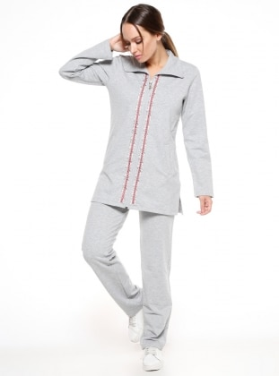Gray - Point Collar - Polo neck - Tracksuit Set