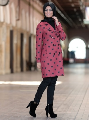 Maroon - Heart Print - Fully Lined - Point Collar - Jacket
