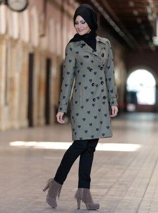 Khaki - Heart Print - Fully Lined - Point Collar - Jacket