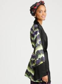 Desenli Kimono - Siyah Yeşil - Meys