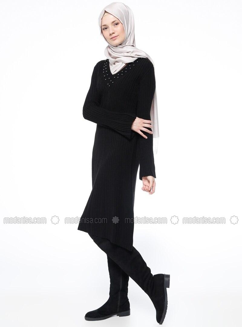 schwarz v ausschnitt ohne innenfutter hijab kleid. Black Bedroom Furniture Sets. Home Design Ideas