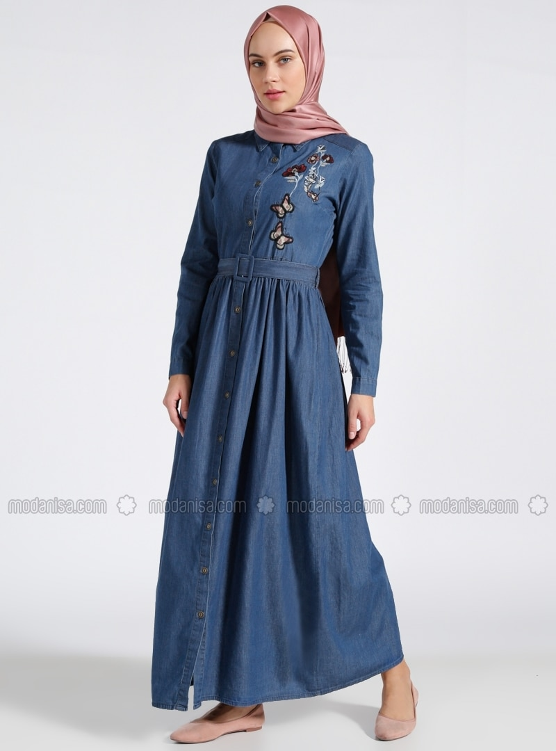 Cotton - Unlined - Point Collar - Navy Blue - Denim - Dresses - Benin