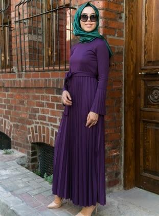 Purple - Crew neck - Dresses