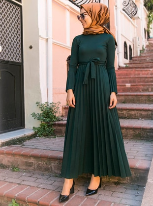 Green - Crew neck - Dress - İnşirah