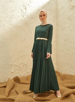 Green - Crew neck - Dress