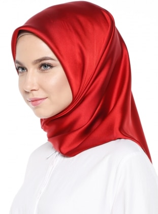 Red - Plain - Rayon - Scarf