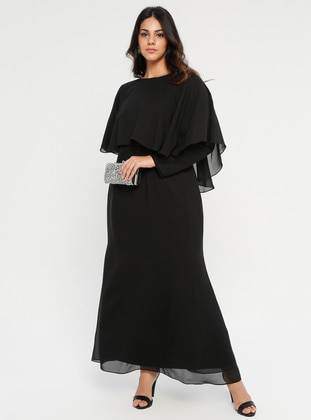 Black - Fully Lined - Crew neck - Muslim Plus Size Evening Dress - Melisita