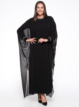 Black – Unlined – Crew Neck – Muslim Plus Size Evening Dress – Melisita