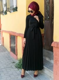 Black - Crew neck - Dress