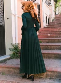 Green - Crew neck - Dress