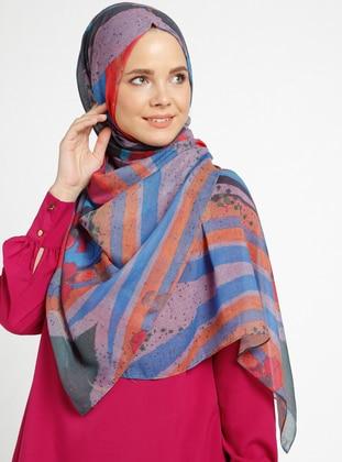 Printed - Multi - Orange - Shawl - Şal