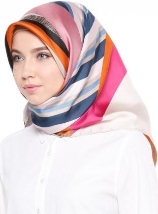 %100 Silk – Twill – Printed – Multi – Pink – Scarf – Levi`Dor