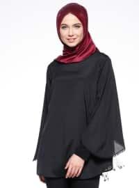 Kol Detaylı Bluz - Siyah - Mileny