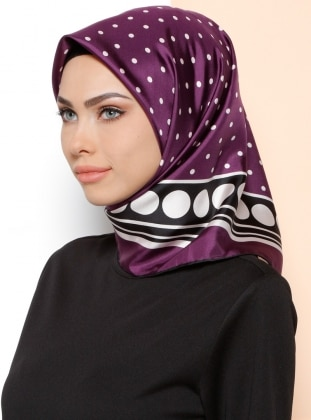 %100 Silk – Polka Dot – Purple – Scarf – Kayra Esarp