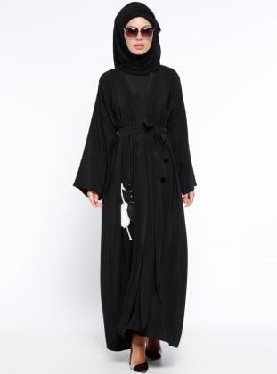 Black - Unlined - V neck Collar - Abaya - Ferrace By