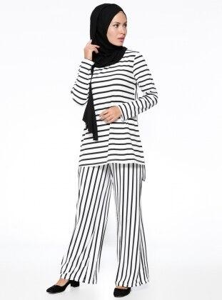 Tunik&Pantolon İkili Takım - Siyah Beyaz Pardesü Dünyası