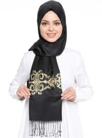 Black - Gold - Printed - Shawl
