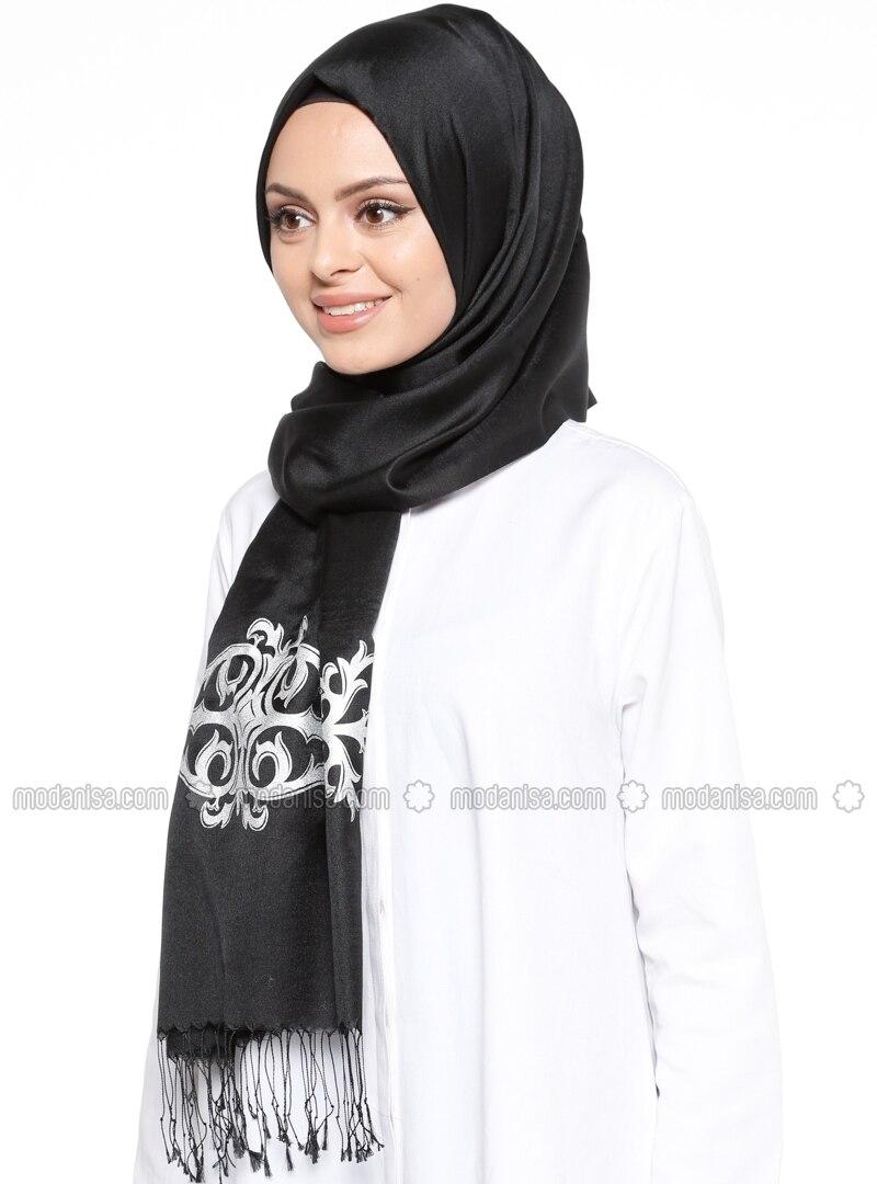 Black - Silver tone - Printed - Shawl