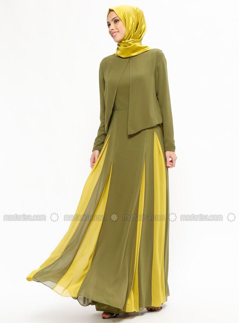 9a4d6c3b64c Khaki - Fully Lined - Crew neck - Muslim Evening Dress - Carmen Night.  Fotoğrafı büyütmek için tıklayın