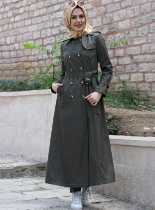 Khaki - Fully Lined - Point Collar - Trench Coat - İz Otantik