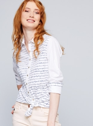 White - Navy Blue - Multi - Point Collar - Blouses