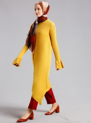 Yellow - Crew neck - Tunic - Refka